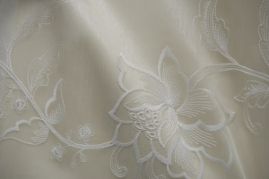 Белый тюль с вышивкой арт. R401