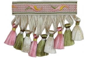 Бахрома для штор с кисточками на вышитом корде Chantilly