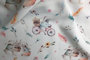 Портьерная ткань Barbara с зайчатами на велосипедах