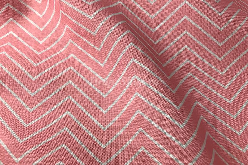 Розовая портьерная ткань с зигзагами