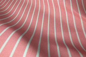 Розовая портьерная ткань с белой полоской