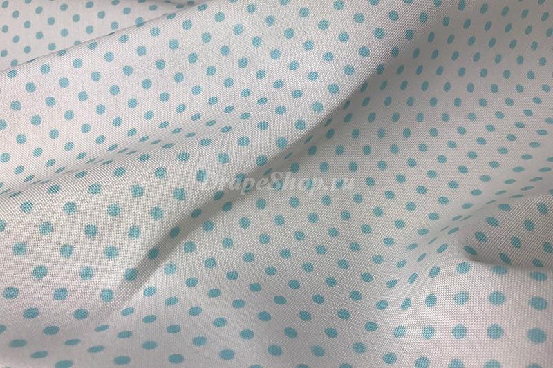Светлая портьерная ткань в голубой горошек