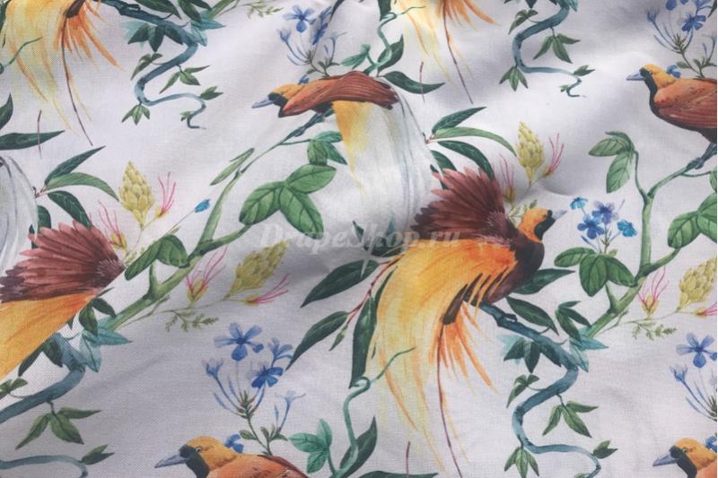 Ткань с птицами и цветами