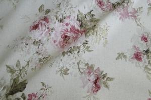 Льняная ткань с цветочным рисунком Amelie col. 04