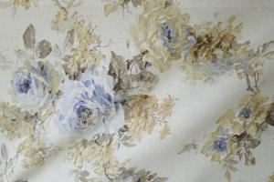Льняная ткань с цветочным рисунком Amelie col. 03
