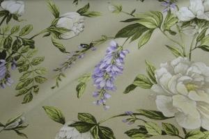 Ткань льняная с цветочным рисунком  Lilas col. 02