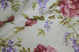Ткань льняная с цветочным рисунком  Lilas col. 03