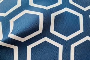 Ткань арт. 0100197 синяя с орнаментом соты