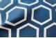 Ткань для штор синяя с орнаментом соты арт.0100197