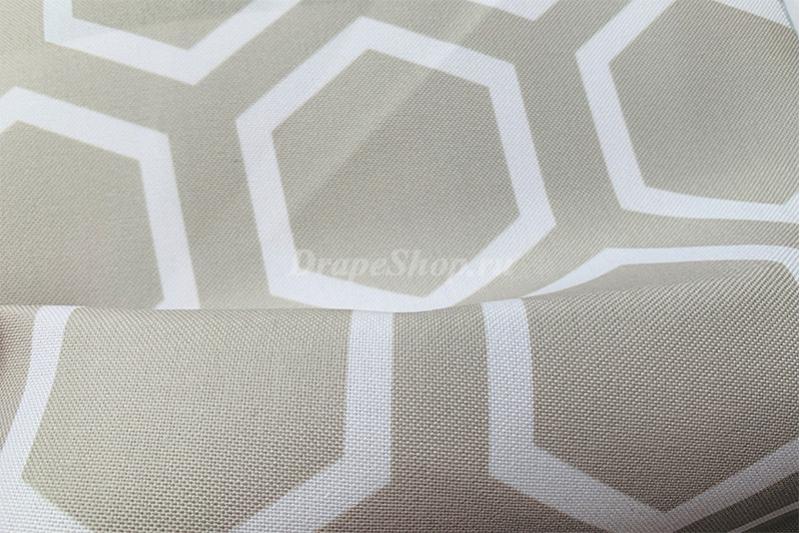 Ткань для штор синяя с орнаментом соты арт. 0100297