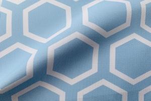 Ткань арт. 0100497 голубая с орнаментом соты