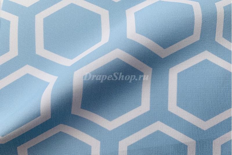 Ткань для штор серая с орнаментом соты арт. 0100497