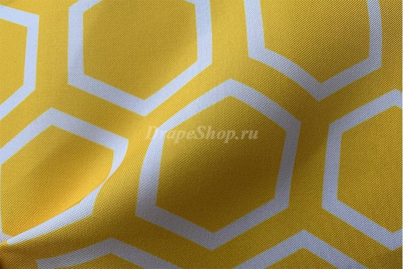 Ткань для штор зеленая с орнаментом соты арт. 0100797