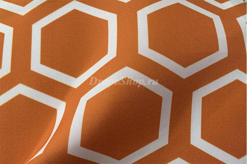 Ткань для штор желтая с орнаментом соты арт. 0100597