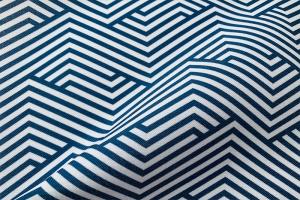 Ткань арт. 0100897 синяя с орнаментом волна