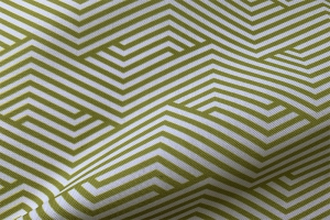 Ткань арт. 0101297 зеленая с орнаментом волна