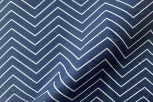 Ткань арт. 0101597 синяя с орнаментом зигзаг