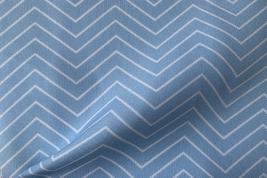 Ткань арт. 0101897 голубая с орнаментом зигзаг