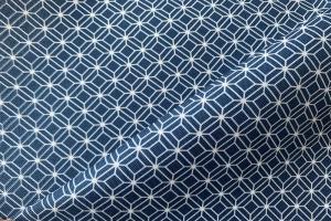 Ткань арт. 0102297 синяя мелкий ромб
